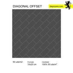 diagonal offset. Slate tiles design. Azulejos de pizarra.