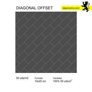 diagonal offset. Slate tiles design. Azulejos de pizarra. Skifer bord med to naturlige ansigter.