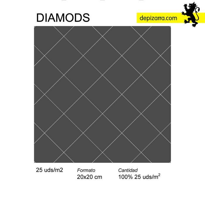 diamonds . Patrón colocación azulejo pizarra. Slate tiles patterns.