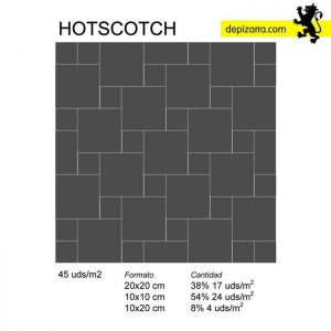 hotscotch. Patrón colocación azulejo pizarra. Slate tiles patterns.