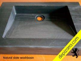 Lavabo de pizarra natural. Natural slate sink. Pizarra de calidad para baños y cocinas. Fabricado en el Bierzo.