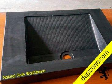 Lavabo de pizarra natural. Natural slate washbasin.