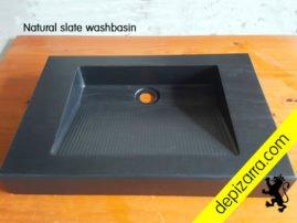 Lavabo de pizarra natural. Natural slate washbasin. Slate sink. Pizarra de calidad de León. Fabricado en el Bierzo.