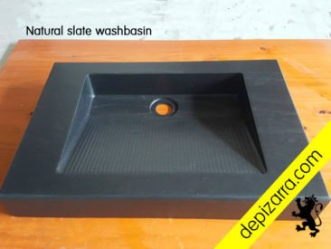 Lavabo de pizarra natural. Natural slate washbasin. Slate sink.