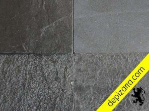 4 acabados superficiales de placa de pizarra natural. Color negro Bierzo.