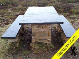 Mesa de placa de pizarra natural con 2 caras naturales. Resistente a la intemperie. Mesa pizarra natural.