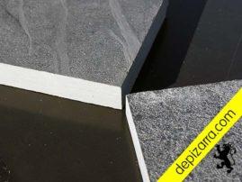 Placa de pizarra negra pulida y con tratamiento superficial. Placa de pizarra arenada y placa de pizarra serrada.