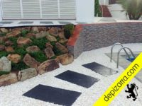 Placa de pizarra para pasos de pizarra para jardinería y paisajimo. Jardinería pizarra suelo.